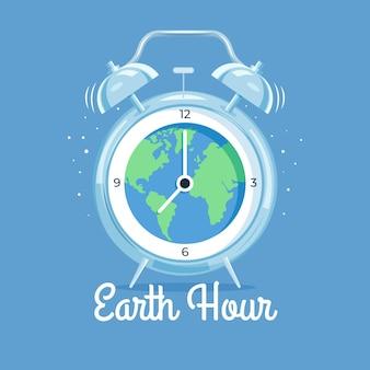 Ilustração desenhada à mão da hora da terra com planeta e lâmpada
