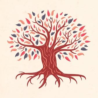 Ilustração desenhada à mão da vida na árvore