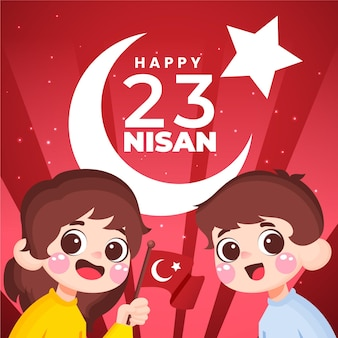 Ilustração desenhada à mão de 23 nisan