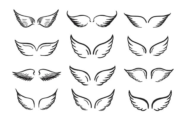 Ilustração desenhada à mão de asas de anjo
