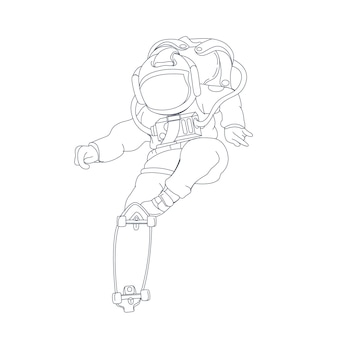Ilustração desenhada à mão de astronauta skate