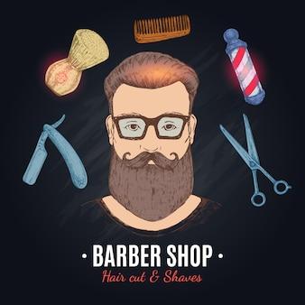 Ilustração desenhada à mão de barbearia