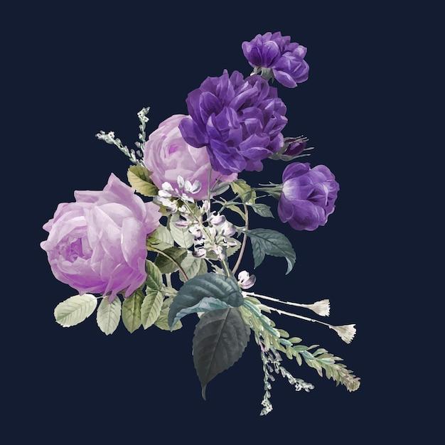 Ilustração desenhada à mão de buquê de rosas roxas vintage