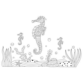Ilustração desenhada à mão de cavalo-marinho em estilo zentangle