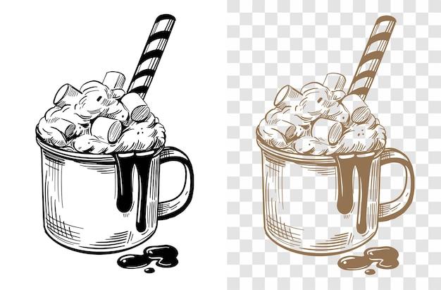 Ilustração desenhada à mão de chocolate quente