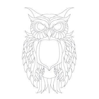 Ilustração desenhada à mão de coruja