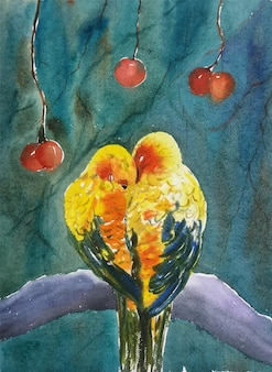 Ilustração desenhada à mão de dois pássaros com aquarela no papel