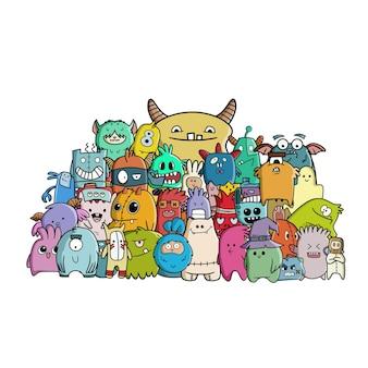 Ilustração desenhada à mão de doodle monstro fofo