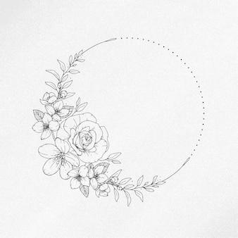Ilustração desenhada à mão de guirlanda floral de primavera vintage