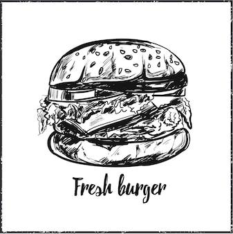 Ilustração desenhada à mão de hambúrguer fresco