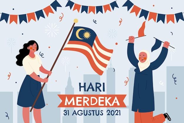 Ilustração desenhada à mão de hari merdeka