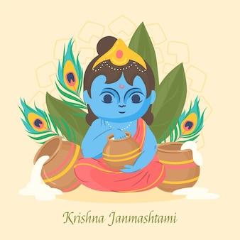 Ilustração desenhada à mão de krishna janmashtami
