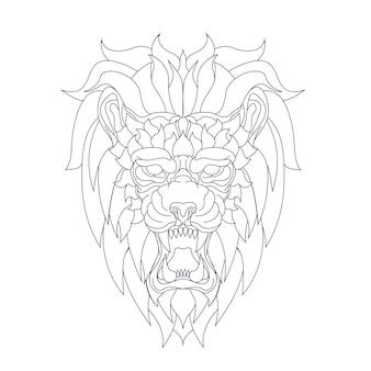 Ilustração desenhada à mão de leão zangado