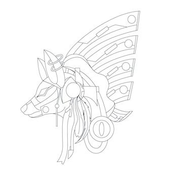 Ilustração desenhada à mão de lobo ornamental