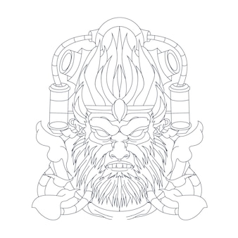 Ilustração desenhada à mão de macaco