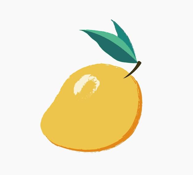 Ilustração desenhada à mão de manga laranja madura