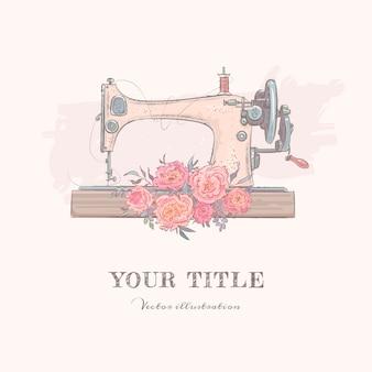 Ilustração desenhada à mão de máquina de costura e flores