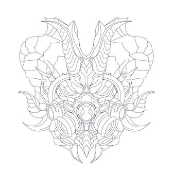 Ilustração desenhada à mão de máscara de dragão