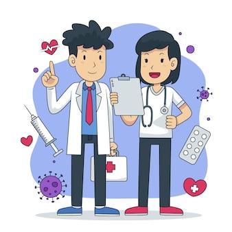 Ilustração desenhada à mão de médicos e enfermeiras