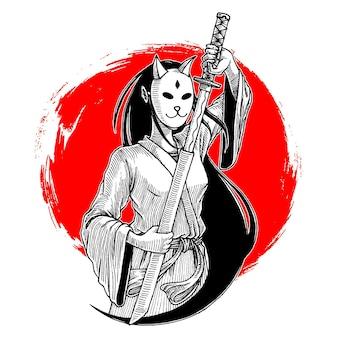 Ilustração desenhada à mão de menina mascarada samurai