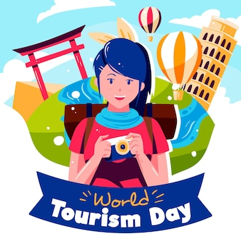 Ilustração desenhada à mão de mulher comemorando o dia do turismo
