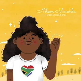 Ilustração desenhada à mão de nelson mandela - dia internacional