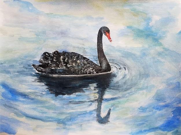 Ilustração desenhada à mão de patos em aquarela