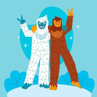 Ilustração desenhada à mão de pé grande e boneco de neve abominável yeti