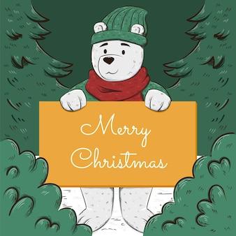 Ilustração desenhada à mão de personagem de natal segurando uma faixa em branco