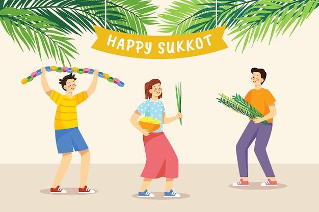 Ilustração desenhada à mão de pessoas celebrando sucot
