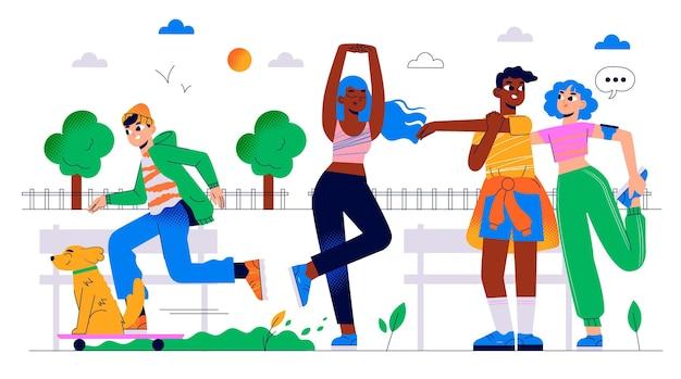 Ilustração desenhada à mão de pessoas fazendo atividades ao ar livre