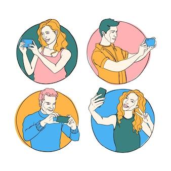 Ilustração desenhada à mão de pessoas tirando fotos com smartphone