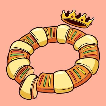 Ilustração desenhada à mão de roscón de reyes