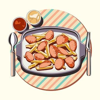 Ilustração desenhada à mão de salchipapa