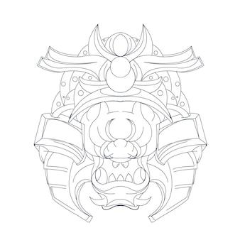 Ilustração desenhada à mão de samurai ronin