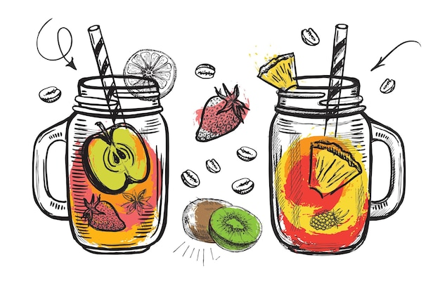 Ilustração desenhada à mão de smoothie do menu de sucos