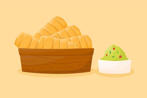 Ilustração desenhada à mão de tequeños com guacamole