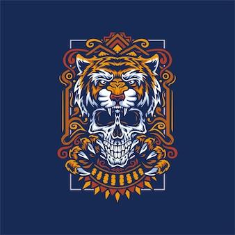 Ilustração desenhada à mão de tigre e caveira isolada