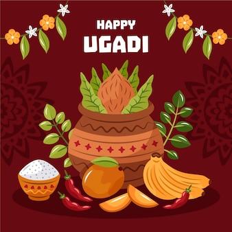 Ilustração desenhada à mão de ugadi