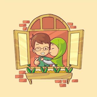 Ilustração desenhada à mão de um casal muçulmano romântico na janela