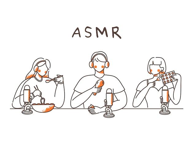 Ilustração desenhada à mão de um grupo de pessoas fazendo sons asmr