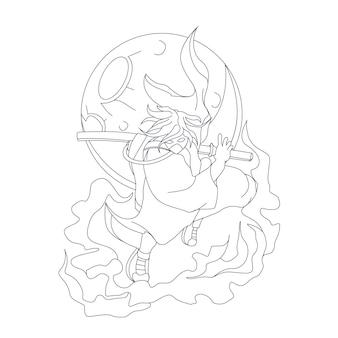 Ilustração desenhada à mão de um samurai legal