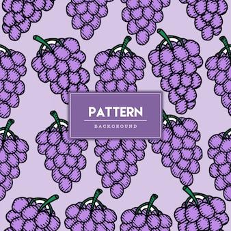 Ilustração desenhada à mão de uva padrão sem emenda