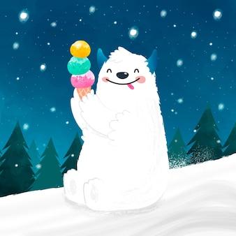Ilustração desenhada à mão de yeti abominável boneco de neve