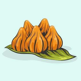 Ilustração desenhada à mão delicioso modak