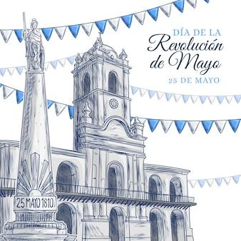 Ilustração desenhada à mão dia de la revolucion de mayo