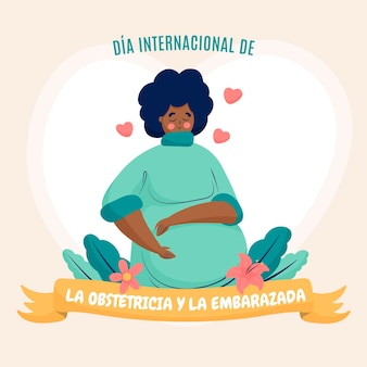 Ilustração desenhada à mão dia internacional de la obstetricia y la embarazada