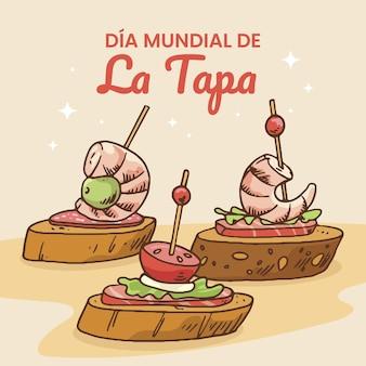 Ilustração desenhada à mão dia mundial de la tapa