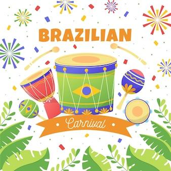 Ilustração desenhada à mão do carnaval brasileiro