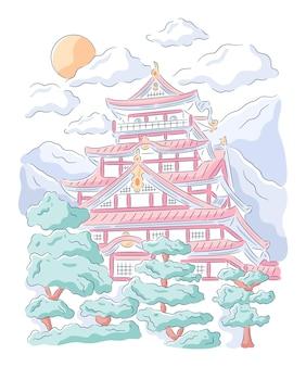 Ilustração desenhada à mão do castelo tradicional japonês